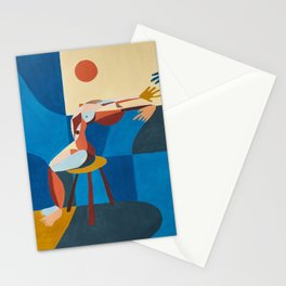 Woman and window Stationery Cards