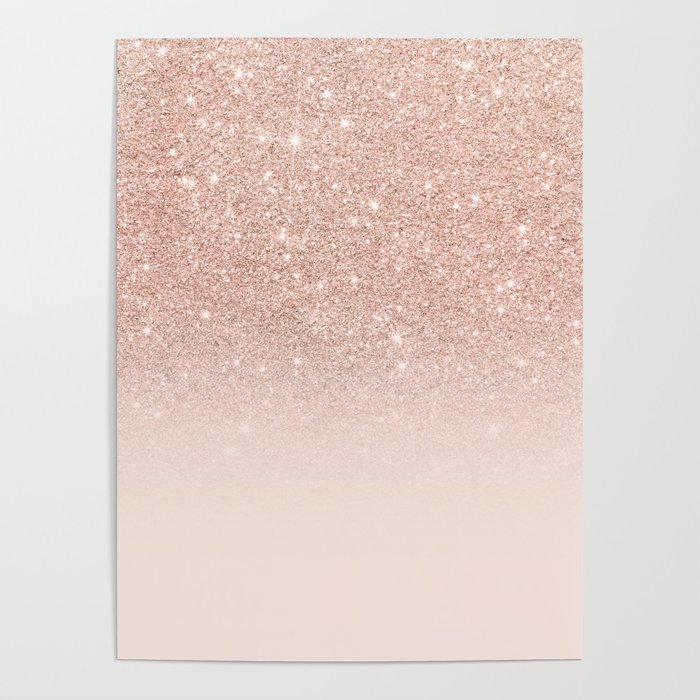 Rose Gold Faux Glitter Pink Ombre Color Block Poster By