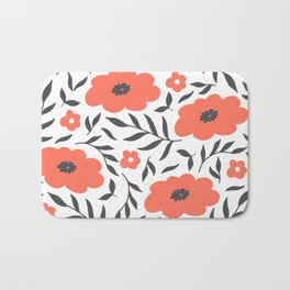 Red and Black Flowers Bath Mat