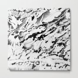 Black and white wet paint textured pattern Metal Print