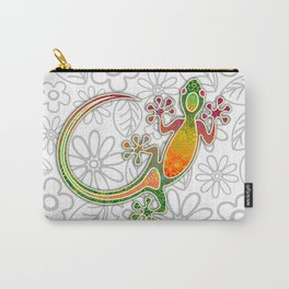 Gecko Floral Tribal Art Carry-All Pouch