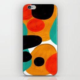 Mid Century Modern Abstract Minimalist Retro Vintage Style Rolie Polie Olie Bubbles Teal Orange iPhone Skin