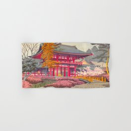 Japanese Woodblock Print Vintage Bright East Asian Red Pagoda Spring Garden Hand & Bath Towel