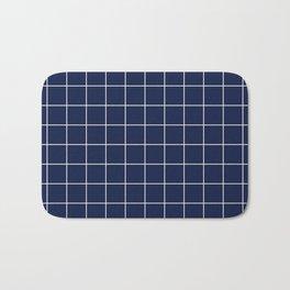 Indigo Navy Blue Grid Bath Mat