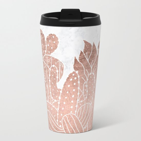 Modern faux rose gold cactus hand drawn pattern illustration white marble Metal Travel Mug