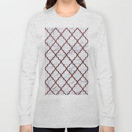 Burgundy gray white marble moroccan quatrefoil Long Sleeve T-shirt