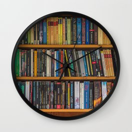 Bookshelf Books Library Bookworm Reading Pattern Wall Clock