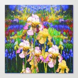 WHITE & YELLOW IRIS BLUE GARDEN Canvas Print