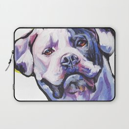 American Bulldog Portrait Dog bright colorful Pop Art by LEA Laptop Sleeve