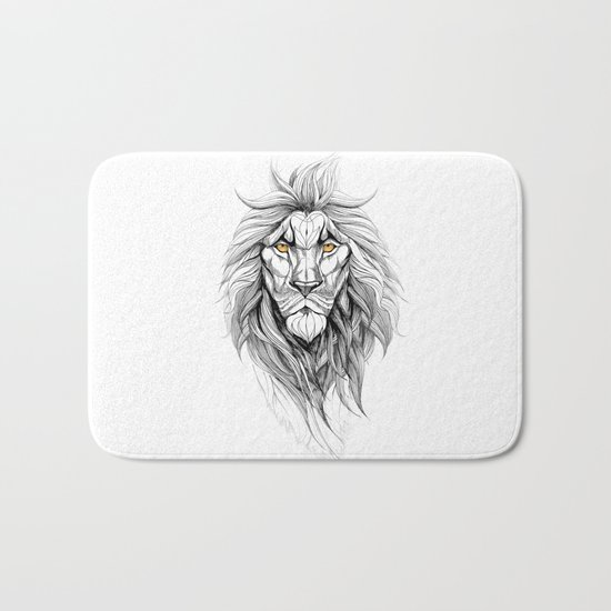 The Lion (black stroke version for t-shirts) Bath Mat
