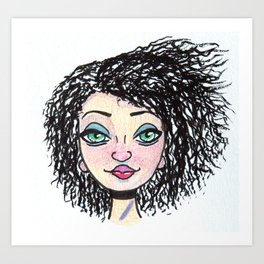 curly haired witch Art Print
