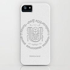 Joshua 24:15 - (Letterpress) Monogram U Slim Case iPhone (5, 5s)