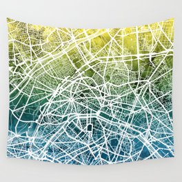 Paris France City Street Map Wall Tapestry