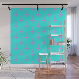Purple and Blue Inverted Cross Pattern Wall Mural