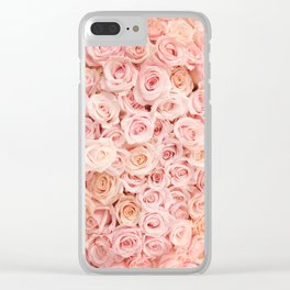 Blush Pink Roses Clear iPhone Case