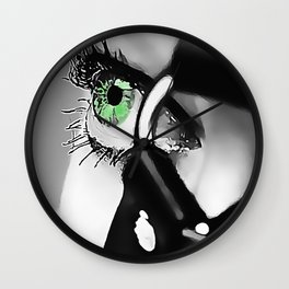 Her Green Eyes - bondage, bdsm fantasy #4 naughty girl fetish mask, erotic slave woman Wall Clock