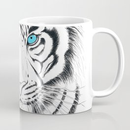 White Bengal tiger Blue Eyes Ink Art Coffee Mug