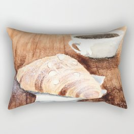 Croissant and Coffee Rectangular Pillow