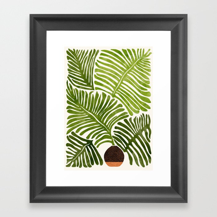 Summer Fern / Simple Modern Watercolor Framed Art Print