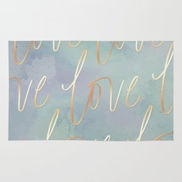 Your Love Is Gold - Blue & Green Watercolour Rug