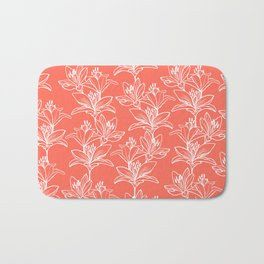 Lily Love in Coral Orange Bath Mat