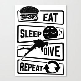 Eat Sleep Dive Repeat - Diving Reef Lake Diver Sea Canvas Print