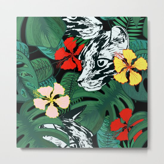 Tropical floral jungle. Exotic forest. Leopard with flowers. Metal Print