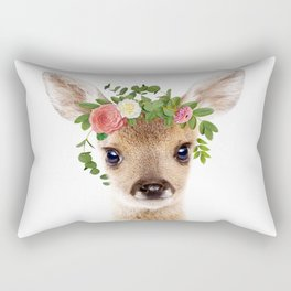 Baby Deer With Flower Crown, Baby Animals Art Print By Synplus Rectangular Pillow