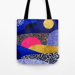Terrazzo galaxy blue night yellow gold pink Tote Bag
