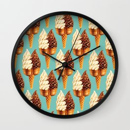 Ice Cream Pattern - Teal Wall Clock