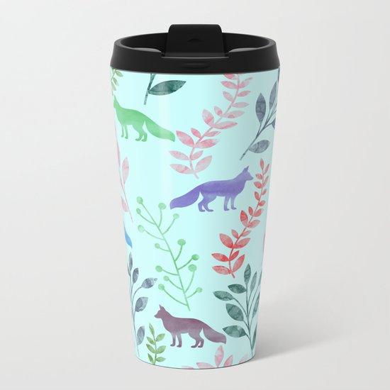 Watercolor Floral & Fox Metal Travel Mug