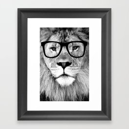 Hippest Lion with glasses - Black and white photograph Framed Art Print