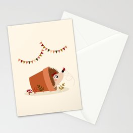 Hérisson et papillon Stationery Cards