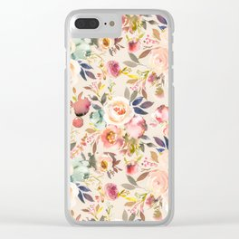 Hand painted ivory pink brown watercolor country floral Clear iPhone Case