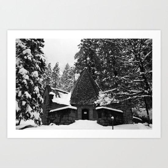 Snow Building in Snow Art Print