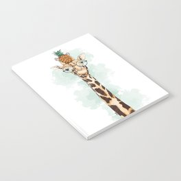 Intelectual Giraffe with a pineapple on head Notebook