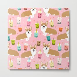 corgi bubble tea boba tea fabric cute Metal Print