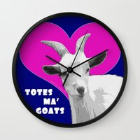 totes Wall Clocks featuring Totes Ma Goats - Blue Pink by BACK to THE ROOTS