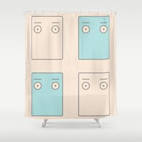 larry Shower Curtains featuring Larry Butz' shirt - Phoenix Wright by Meteo Designs