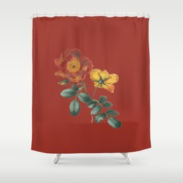Deep Red Vintage Flowers Shower Curtain