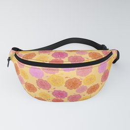 Hibiscus Hawaiian Flowers in Pinks and Corals on Yellow Fanny Pack