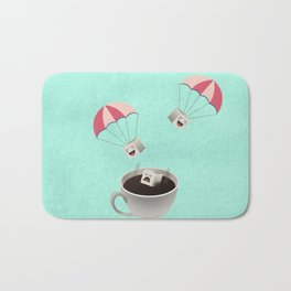 Sugar Cubes Jumping in a Cup of Coffee Bath Mat
