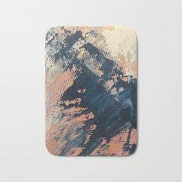Hidden Gem [3]: an abstract mixed media piece in pink, blue, gold and white Bath Mat