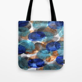 Blue Gray Orange Ovals Tote Bag
