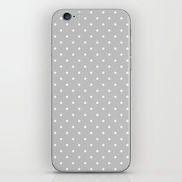 Small White Polka Dots On Light Grey Background iPhone Skin