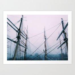 Foggy Sails Art Print