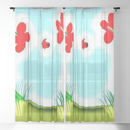 Two Flowers and a Lady Sheer Curtain