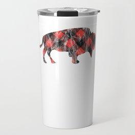 Plaid Raging Buffalo Checkered I Love Buffaloes Distressed Travel Mug