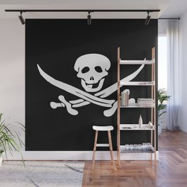 Black flag of Jolly Roger with swords Wall Mural