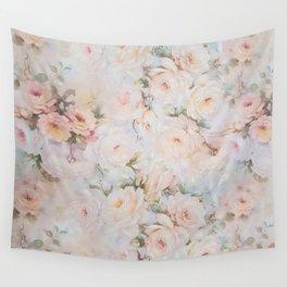 Vintage romantic blush pink ivory elegant rose floral Wall Tapestry